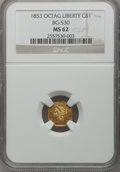 California Fractional Gold, 1853 $1 Liberty Octagonal 1 Dollar, BG-530, R.2, MS62 NGC....