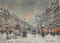 Paintings, ANTOINE BLANCHARD (French, 1910-1988). Les Grands Boulevards sous la Neige, Paris. Oil on canvas . 13 x 18 inches (33.0 ...