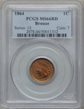 Indian Cents, 1864 1C Bronze No L MS66 Red PCGS....