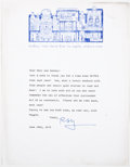 Books:Signed Editions, Ray Bradbury. Typed Letter Signed and on Author's Letterhead. Single page and dated 1974. Letter from Bradbury t...