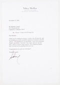 Books:Signed Editions, Sidney Sheldon. Typed Letter Signed and on Author's Letterhead. Single page and dated 2002. Letter from Sheldon ...