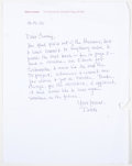 """Books:Signed Editions, Elmore Leonard. Three Autograph Letters Signed """"Dutch"""" and on Author's Stationery. Single page each and dated 2000-2010. Let..."""