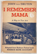 Books:First Editions, John Van Druten. I Remember Mama. New York: Harcourt, Brace,[1945]. First edition. Octavo. Publisher's binding and ...