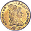 Early Half Eagles, 1804 $5 Small 8 Over Large 8 MS61 NGC. CAC. Breen-6442, BD-7,R.4....