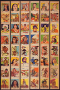 "Non-Sport Cards:Sets, 1940's R185 ""Series of 48 - Western"" Complete Set (48) In OriginalUncut Strips...."