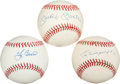 Baseball Collectibles:Balls, New York Yankees Legends Single Signed Baseballs Lot of 3. ...