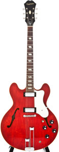 Musical Instruments:Electric Guitars, 1967 Epiphone E-360TDC Cherry Semi-Hollow Body Electric Guitar,#105840....