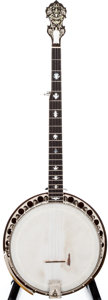Musical Instruments:Banjos, Mandolins, & Ukes, 1920s Paramount Style A Brown Stain 5-String Banjo, #N/A....