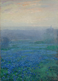JULIAN ONDERDONK (American, 1882-1922) Bluebonnets at Sunrise Oil on board 13-1/2 x 9-1/2 inches