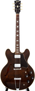 Musical Instruments:Acoustic Guitars, Late 1960s Gibson ES-335 Walnut Semi-Hollow Body Electric Guitar,#890407....