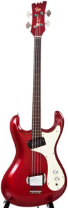 Musical Instruments:Electric Guitars, Mid-1960s Mosrite Ventures Candy Apple Red Electric Bass Guitar,#5185....