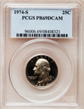 Proof Washington Quarters: , 1974-S 25C PR69 Deep Cameo PCGS. PCGS Population (2609/1). NGCCensus: (53/0). Numismedia Wsl. Price for problem free NGC/...
