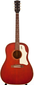 Musical Instruments:Acoustic Guitars, Late 1960s Gibson J-45 Cherry Red Acoustic Guitar, #600287....