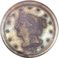 Proof Braided Hair Half Cents, 1847 1/2 C Second Restrike PR66 Brown PCGS. CAC. SR-24, B-3, HighR.5. ...
