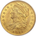 Early Half Eagles, 1811 $5 Small 5 MS63 PCGS. CAC. Breen-6464, BD-2, R.3....