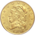 Early Half Eagles, 1820 $5 Curl 2, Large Letters MS61 PCGS. Large Letters, Breen-6477,BD-5, R.6....