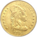 Early Half Eagles, 1798 $5 Large Eagle, Large 8, 13 Star Reverse AU50 PCGS.Breen-6426, BD-2, R.5....