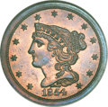 Proof Braided Hair Half Cents, 1854 1/2 C PR65 Red and Brown NGC. B-2, Low R.6. ...