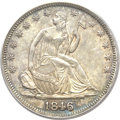 Seated Half Dollars, 1846 50C 6 Over Horizontal 6 MS62 PCGS. CAC. FS-301....