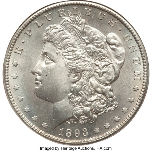 1893-S $1 MS67 NGC     Morgan Dollars | Lot #7332 | Heritage Auctions