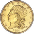Early Half Eagles, 1834 $5 Capped Head, Plain 4 MS65 NGC. Breen-6499, BD-1, High R.5....