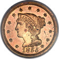 Proof Large Cents, 1855 1C PR64 Red and Brown PCGS. CAC. N-10, R.5 as a proof. ...