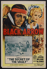 "Black Arrow (Columbia, R-1955). One Sheet (27"" X 41"") Chapter 5 -- ""The Secret of the Vault."" Serial..."