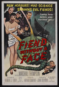 "Movie Posters:Science Fiction, Fiend Without a Face (MGM, 1958). One Sheet (27"" X 41""). Horror.Starring Kynaston Reeves, Marshall Thompson, Terry Kilburn ..."
