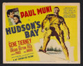 "Movie Posters:Adventure, Hudson's Bay (20th Century Fox, 1941). Title Lobby Card (11"" X14""). Adventure. Starring Paul Muni, Gene Tierney, Laird Creg..."