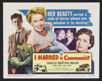 "I Married a Communist (RKO, 1949). Title Lobby Card (11"" X 14""). Film Noir. Starring Laraine Day, Robert Ryan..."