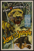 "Movie Posters:Adventure, Jaws of the Jungle (Jay-Dee-Kay Productions, 1936). One Sheet (27""X 41""). Adventure. Starring Cliff Howard, Gukar, Minta, T..."