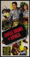 "Movie Posters:Adventure, Jungle Drums of Africa (Republic, 1953). Three Sheet (41"" X 81"").Adventure. Starring Clayton Moore, Phyllis Coates, Bill Wa..."
