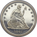 Proof Seated Quarters, 1867 25C PR66+ Cameo PCGS. CAC....