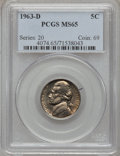 Jefferson Nickels: , 1963-D 5C MS65 PCGS. PCGS Population (69/3). NGC Census: (41/18).Mintage: 276,829,472. Numismedia Wsl. Price for problem f...