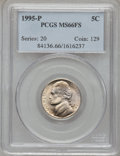 Jefferson Nickels: , 1995-P 5C MS66 Full Steps PCGS. PCGS Population (92/16). NGCCensus: (3/2). (#84136)...