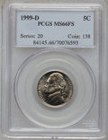 Jefferson Nickels: , 1999-D 5C MS66 Full Steps PCGS. PCGS Population (78/4). NGC Census:(2/0). (#84145)...