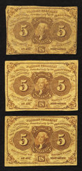 Fractional Currency:First Issue, Fr. 1230 5¢ First Issue Fine to Very Fine. Two Examples.. Fr. 1231 5¢ First Issue Fine-Very Fine.. ... (Total: 3 notes)