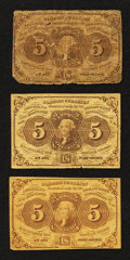 Fractional Currency:First Issue, Fr. 1230 5¢ First Issue Very Goo to Fine. Three Examples.. ... (Total: 3 notes)