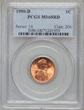 Lincoln Cents: , 1990-D 1C MS68 Red PCGS. PCGS Population (146/2). NGC Census:(39/4). Numismedia Wsl. Price for problem free NGC/PCGS coin...
