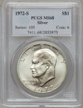 Eisenhower Dollars: , 1972-S $1 Silver MS68 PCGS. PCGS Population (1407/13). NGC Census: (322/4). Mintage: 2,193,056. Numismedia Wsl. Price for p...