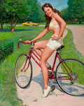 Pin-up and Glamour Art, GIL ELVGREN (American, 1914-1980). Girl on Bicycle, NAPA AutoParts advertisement, circa 1975. Oil on canvas. 30 x 23.5 ...