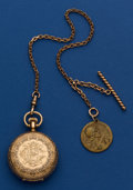 Timepieces:Pocket (post 1900), Waltham Heavy 14k Gold 6 Size Hunter's Case Gold Filled Chain WithFrench Token. ...
