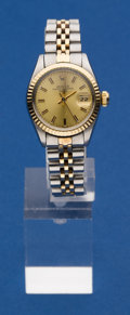 Timepieces:Wristwatch, Rolex Ladies Steel & Gold Perpetual Date, circa 1980. ...