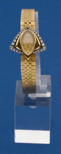 Timepieces:Wristwatch, Piaget Unusual 18k Gold Wristwatch With Diamonds Back WindMovement. ...