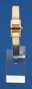 Timepieces:Wristwatch, Omega Unusual 18k Gold Wristwatch With 18k Gold Band. ...