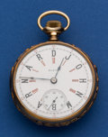 Timepieces:Pocket (post 1900), Elgin 18 size, In An English 18k Gold 52 mm Case With Unusual Dial....