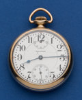 Timepieces:Pocket (post 1900), Waltham 21 Jewel Crescent Street Pocket Watch With Wind IndicatorFor Repair. ...