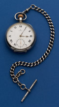 Timepieces:Pocket (post 1900), Omega Sterling 16 Size Pocket Watch With Sterling Chain. ...