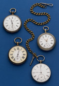 Timepieces:Pocket (pre 1900) , Four - Swiss Key Wind Pocket Watches Runners. ... (Total: 4 Items)