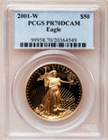 Modern Bullion Coins: , 2001-W G$50 One-Ounce Gold Eagle PR70 Deep Cameo PCGS. PCGS Population (82). NGC Census: (432). Numismedia Wsl. Price for ...